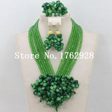 New ! Fashion Green Coral Crystal Beads Bridal Jewelry Sets African Nigerian Wedding Beads Necklace Free Shipping(China)