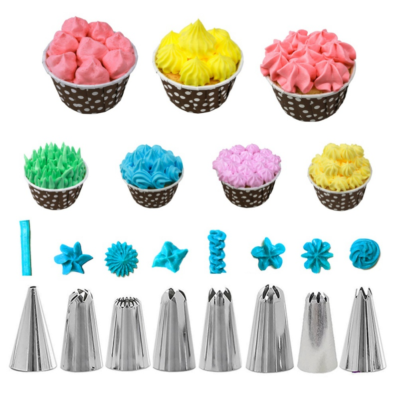 Bakeware Set Of 14 Sets Of 8 Decorating Mouths Cake Cream Decorating Tools With Smear Scraper Converter (White 8 Mouth 14 Sets)