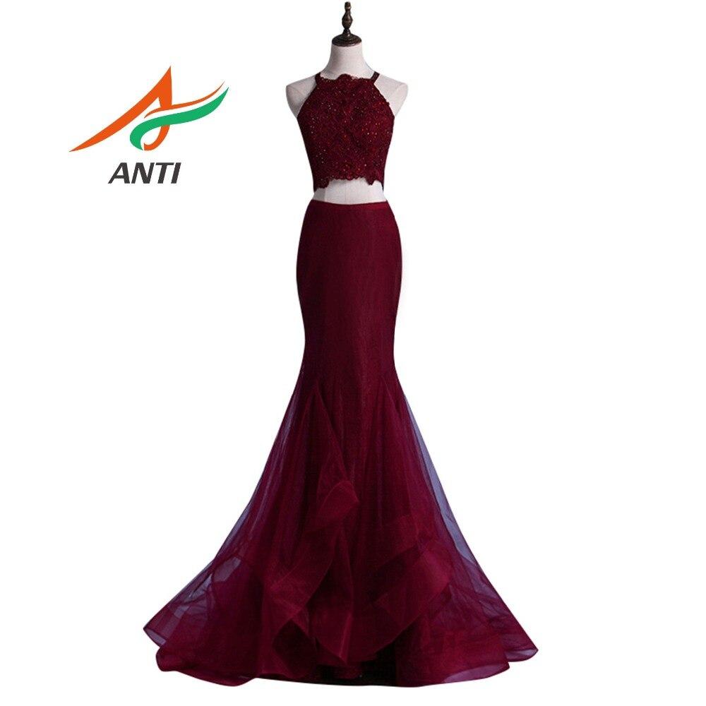 ANTI 2 pieces/set Sequin Appliques   Prom     Dresses   Long Off the Shoulder Vestidos De Festa Formature Party Gowns   Dress   Backless