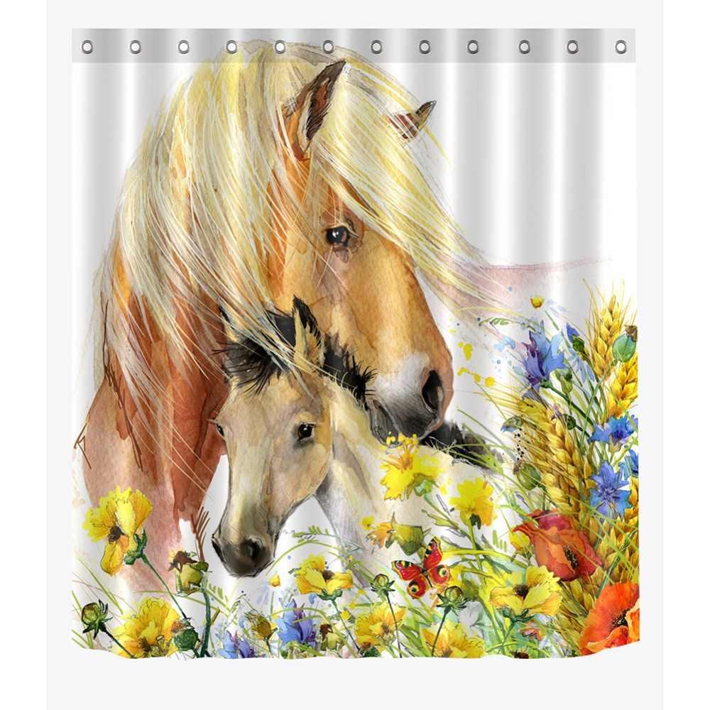 72 ''akwarela koni w kolorowe kwiaty łazienka wodoodporna tkanina zasłona prysznicowa poliester 12 haki do kąpieli akcesoria zestawy
