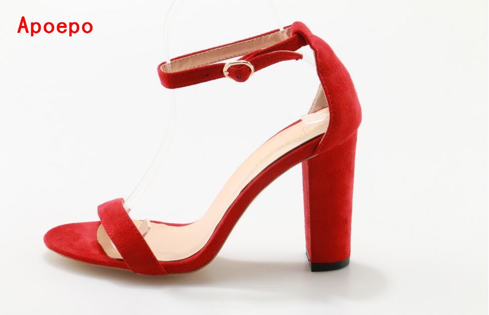 Red Suede Open Toe Thick Heels Sandal 2017 Summer Ankle Strap High Heel Sandals For Woman Cut-out Cage Shoes Square Heels Pumps sandals new summer 2017 basic shoes woman open back strap sandal square heel fashion beige black 35 40 free shipping bassiriana