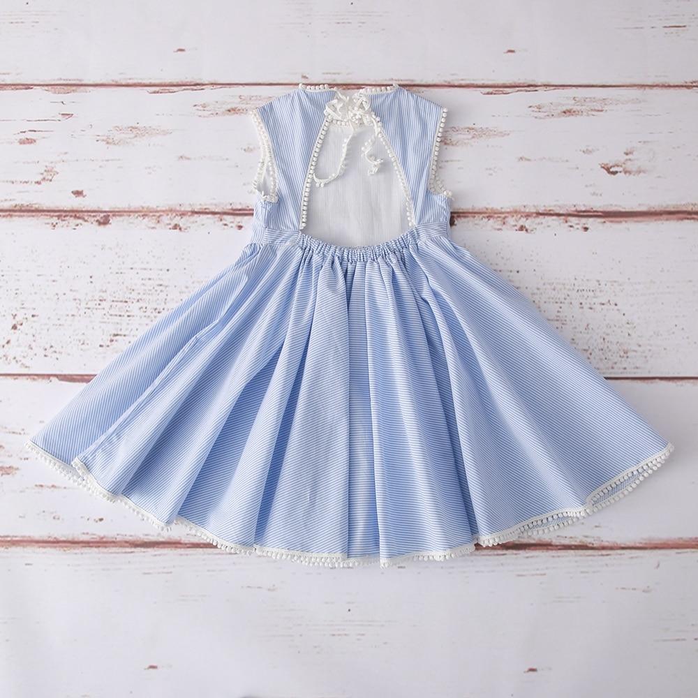 2019 hot selling girls dress ,Fashion blue stripe ,girls cotton dress ,back less dress  (4)