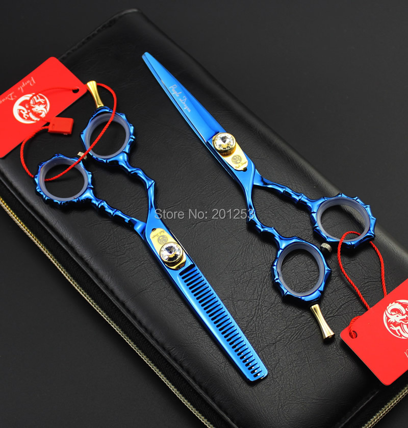 ФОТО JP440C 5.5Inch Left Hand Cutting Scissors and Thinning Scissors Set Bule Hair Shears Bamboo Handle for Hairdressers,1Set LZS0684