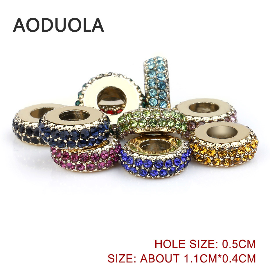 Pack of 10 Large Hole Beads with Pink Rhinestones Spacer Beads Metal Beads