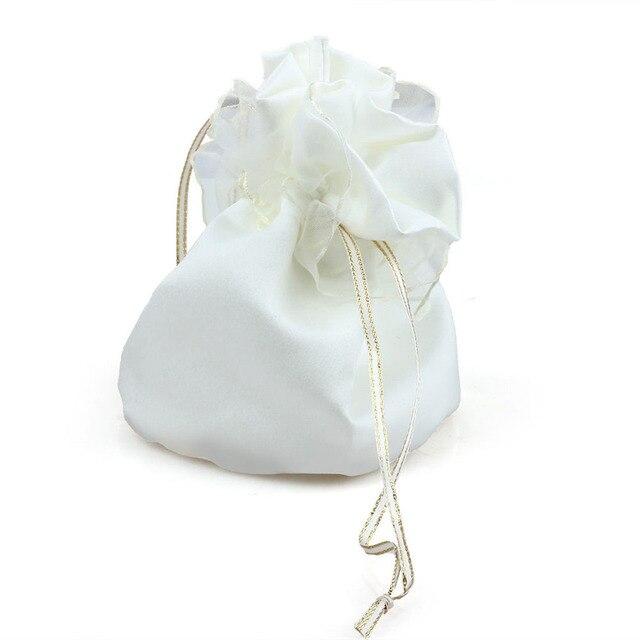 a2a74448adb8 Fashion Beautiful Ivory White Satin Wedding Bride Bridesmaid Dolly Candy  Bag High Quality Handbag Wholesale