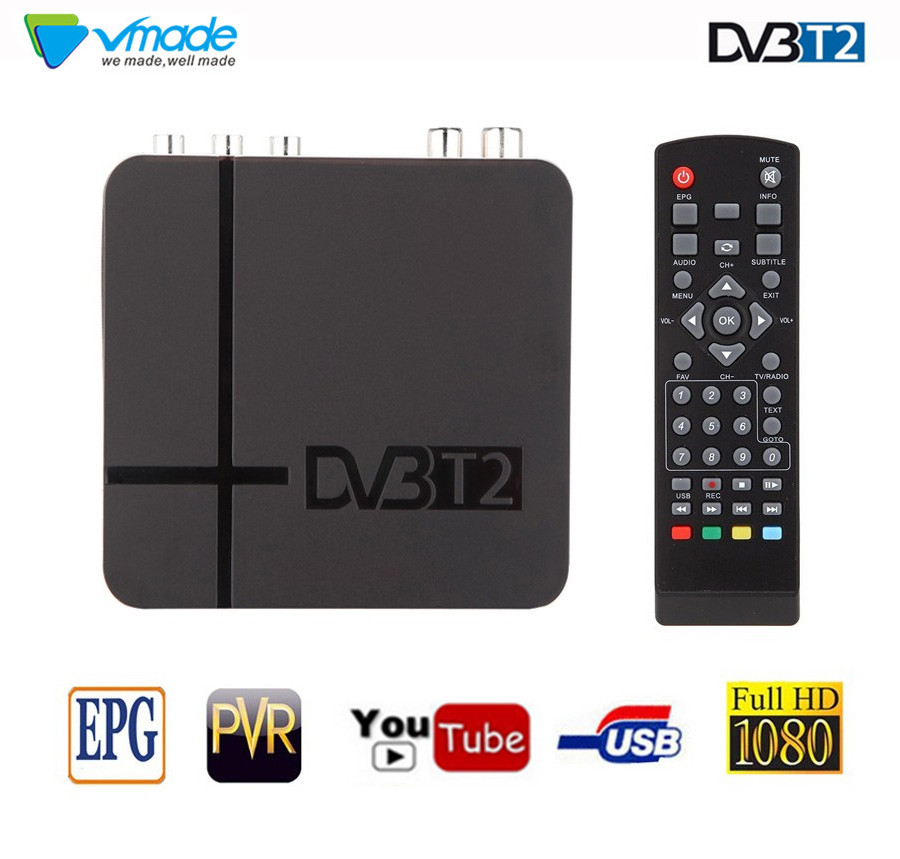 vmade DVB T2 TV Tuner DVB T2 WIFI Receiver Full HD 1080P Digital Smart TV Box Support MPEG H.264 I PTV Built in Russian manual-in Satellite TV Receiver from Consumer Electronics
