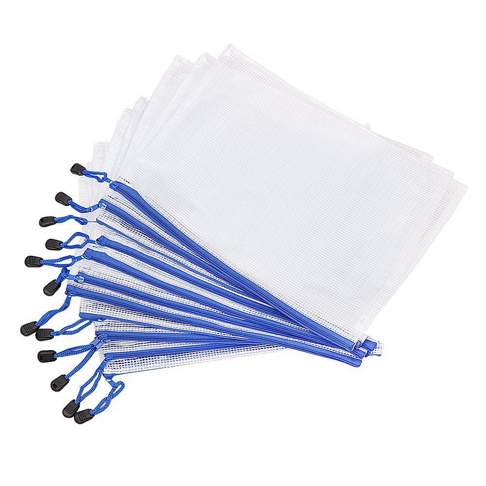 A4 Plastic File Document Folders Paper File Bags with Zipper Clear Color цены