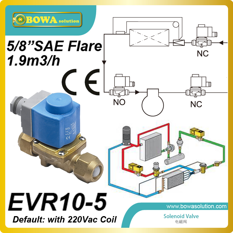 5/8 SAE Flare (1.9m3/h) solenoid valve with coilid installed  in suction line of refrigeration equipment and air conditioner 1 2 moisture monitors installed in liquid line of refrigeration system and air conditioner