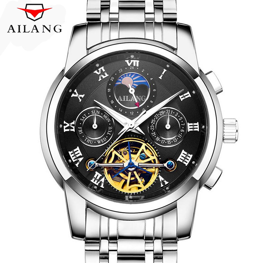 AILANG Moon Phase Top Brand Mens Mechanical Watches Automatic Tourbillon Skeleton Watch Men Calendar Relogio Masculino dropship forsining automatic tourbillon men watch roman numerals with diamonds mechanical watches relogio automatico masculino mens clock