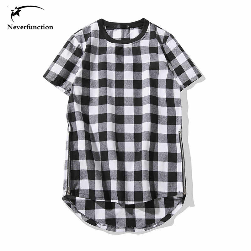 2018 neue Hip Hop T-shirt Mode Marke Black & Red Plaid T Shirts Männer Sommer Kurzarm Arc rand erweiterte Oversize-Design
