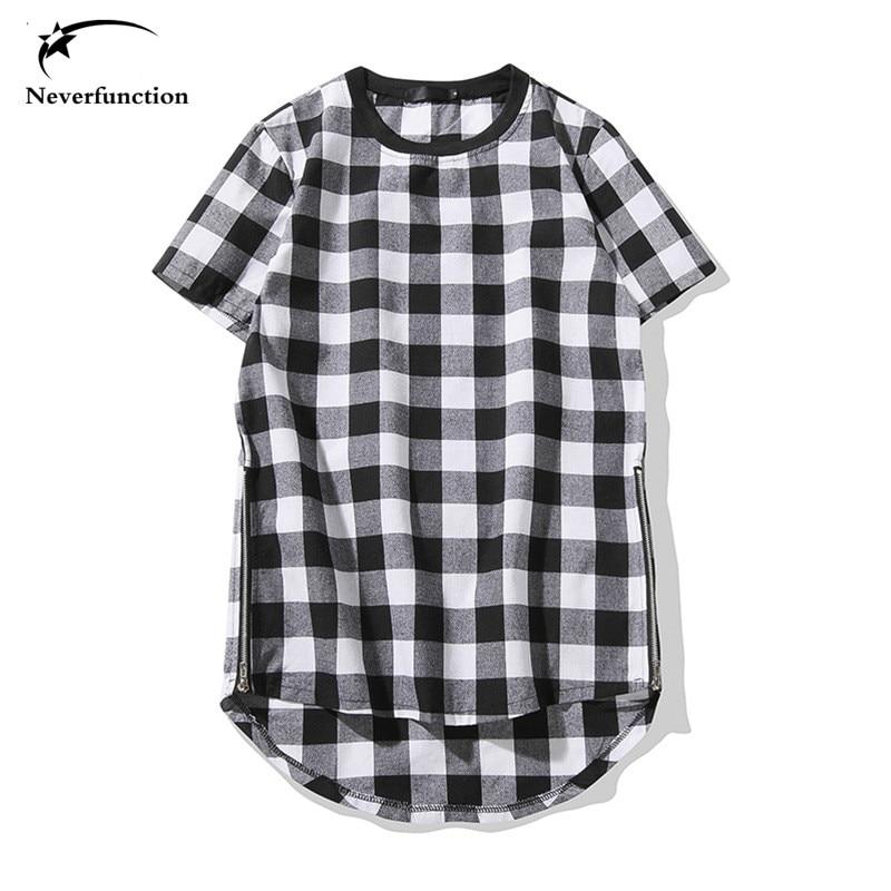 Men/'s t-shirt Hip Hop Lengthen Red Plaid cotton t shirts Arc Hem Gold Zipper
