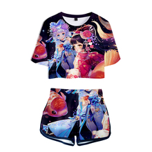 LUCKYFRIDAYF NEW 3D Onmyoji Kpop hot Sexy Two Piece Sets Soft T-shirt and Elastic Shorts fashion Style Fashion