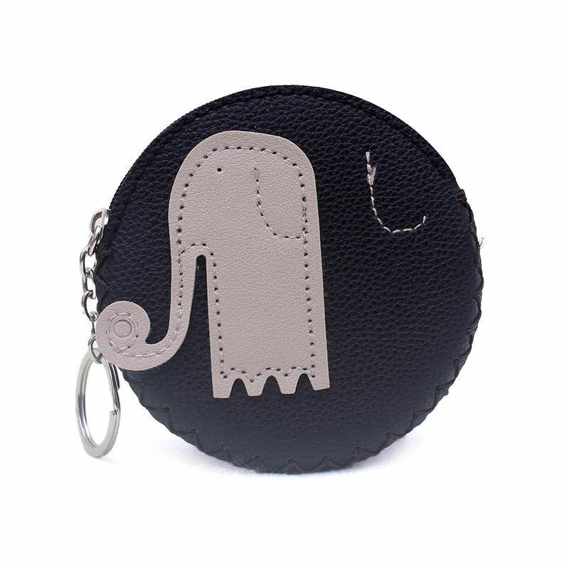 2018 Peixe Elefante Flor PU bolsa da moeda do Cartão Bolsa Da Mudança titular Artesanal Hem Zíper Da Moeda Da Carteira Bolsa de Embreagem Das Mulheres Saco bolsa