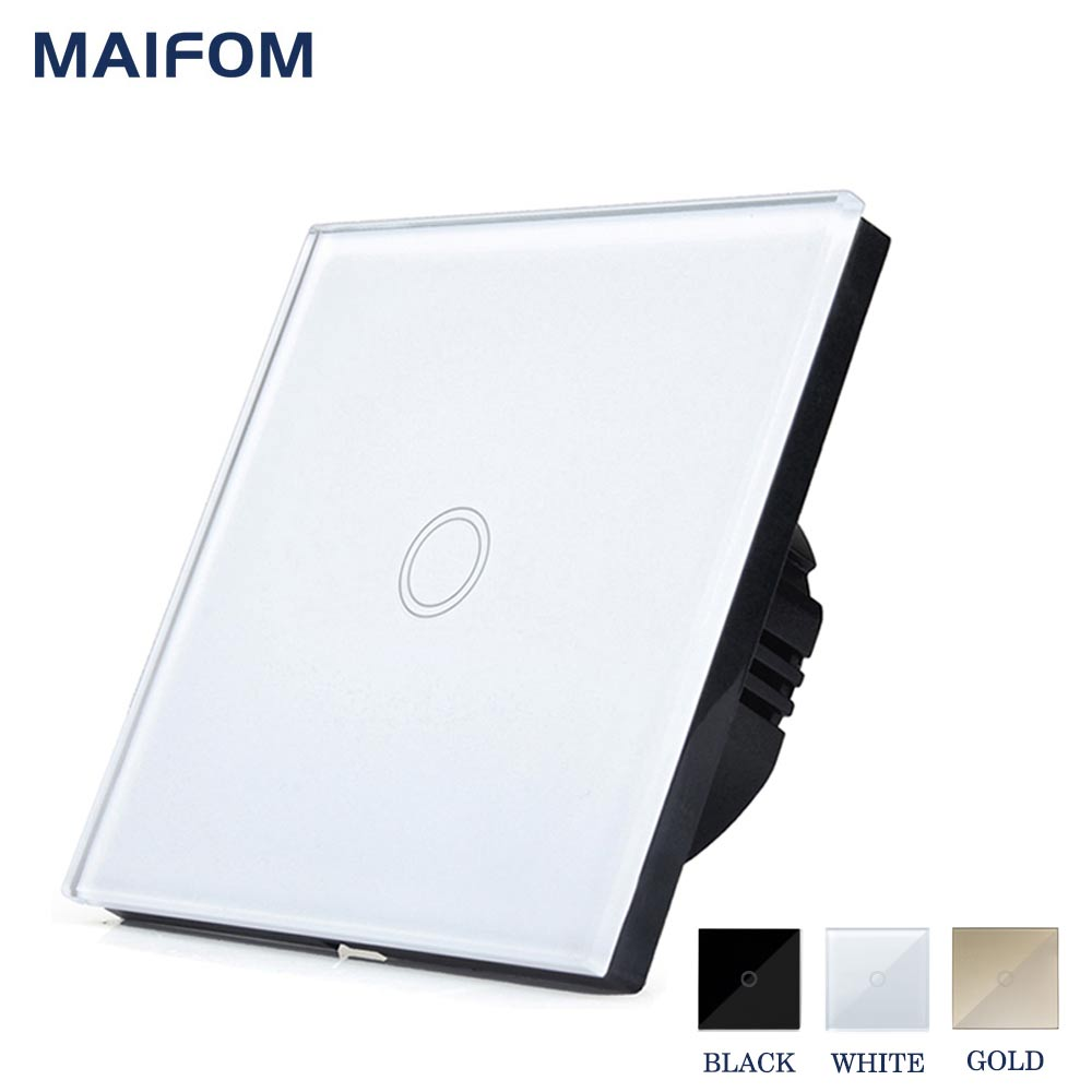 MAIFOM Touch Switch ON OFF Control 1 Gang 1 Way EU Standard Crystal Glass Panel Wall Switch Waterproof Sensor Light Switch smart home eu standard 1 gang 2 way light wall touch switch crystal glass panel waterproof and fireproof