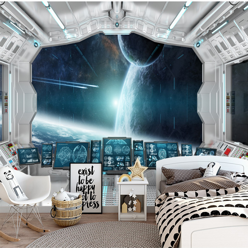 Custom Photo Wallpapers Modern 3D Space Capsule Star Tunnel Space Mural Wallpaper Living Room Sofa TV Background Wallpaper Mural contemporary living space