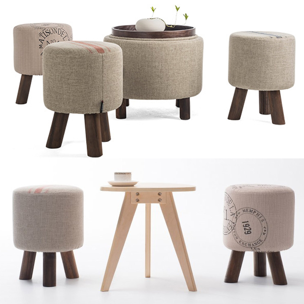 Merveilleux Wooden Furniture Fashion Shoes Stool Wood Ottoman Stool Dressing Minimalist  Pure Cotton Fabric Sofa,wood Furniture Wait Stool In Stools U0026 Ottomans From  ...