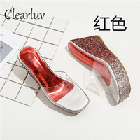 2019 hot new transparent wedge heels 9cm gradient thick soled sequins sandals banquet wedding dress slippers Large size 35 40