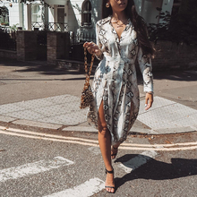 Women Long Maxi Dresses Bohemia Long Sleeve Snakeskin Print Ethnic Autumn Streetwear Female Split Stylish Style Dress