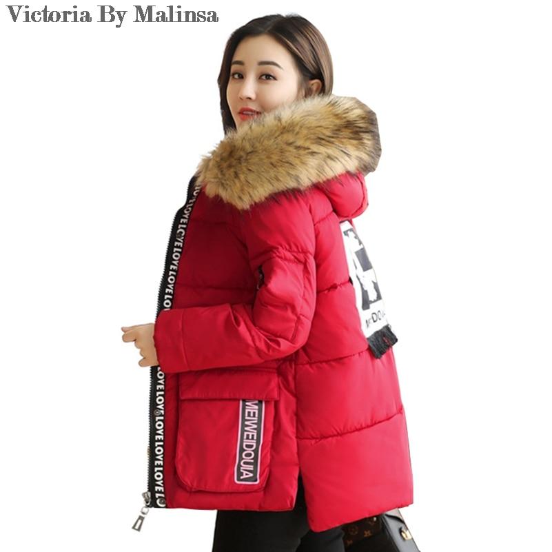 Women Parkas Coats Fashion Warm Winter Jackets Women Fur Collar Parka Hoodies Casual Cotton Outwear Red Plus Size 5XL
