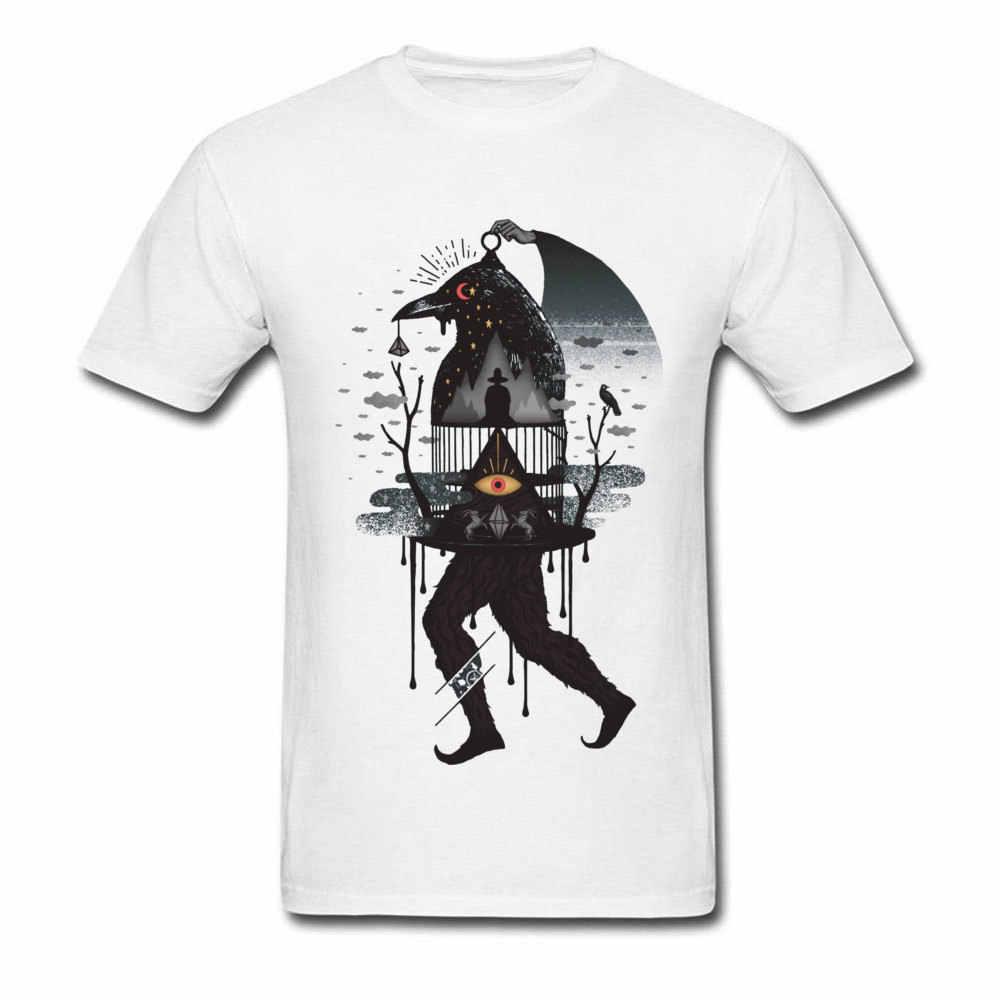 Футболка с пленкой пленных клетка для птиц светящиеся глаза графическая футболка для мужчин April Foot DAY белые футболки с принтом 3D Повседневный свитер