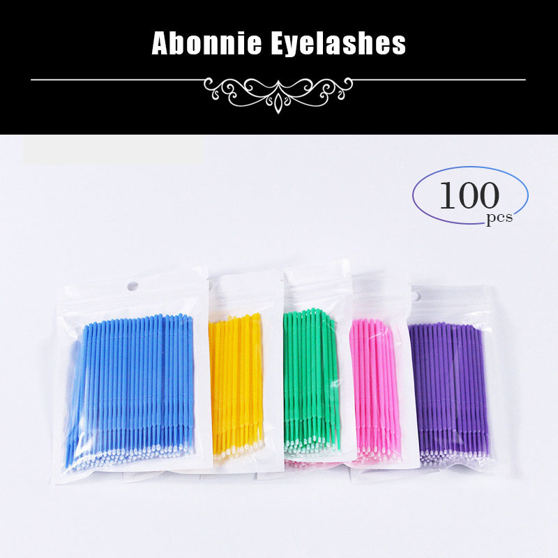 100Pcs/Pack Hot Lint Disposable Makeup Brushes Individual Lash Removing Tools Swab Micro Brushes Eyelash Extension Tools