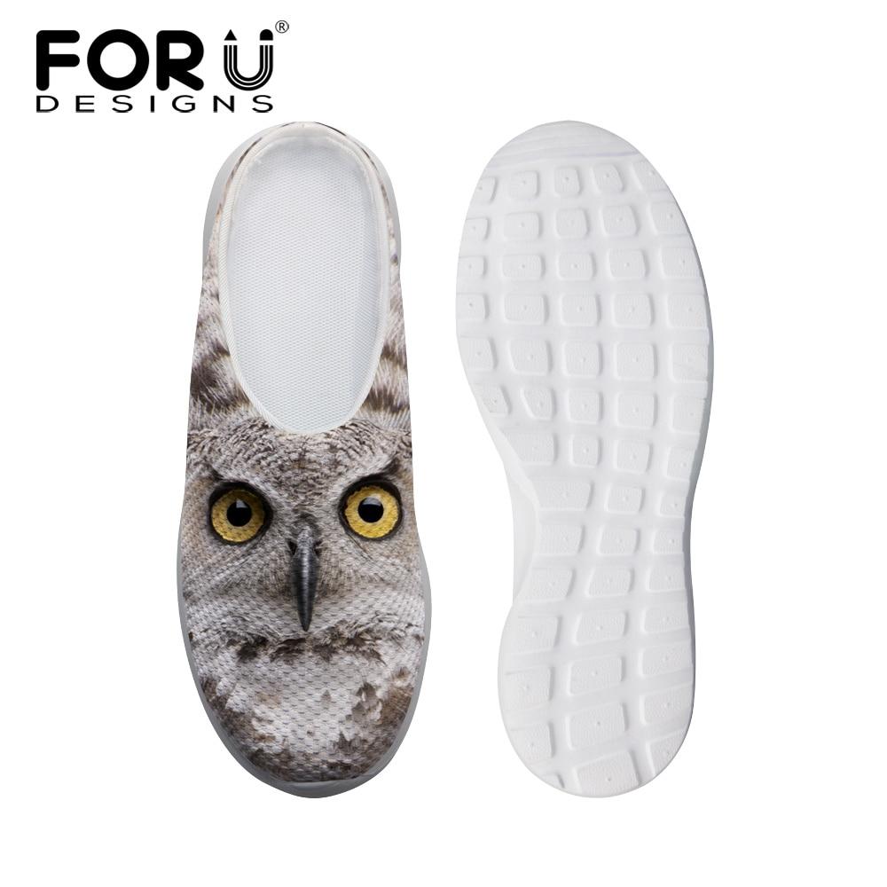 c3890142c Brand Unisex Women Sandals Cute Owl Cat Print Summer Flat Sandals  Breathable Men Clogs Casual Slipper Summer Beach Shoes