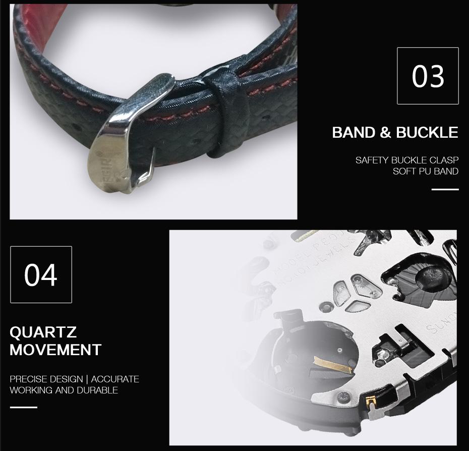 Topdudes.com - MEGIR Big Dial Luxury Sports Casual Fashion Black PU Strap Quartz Watch