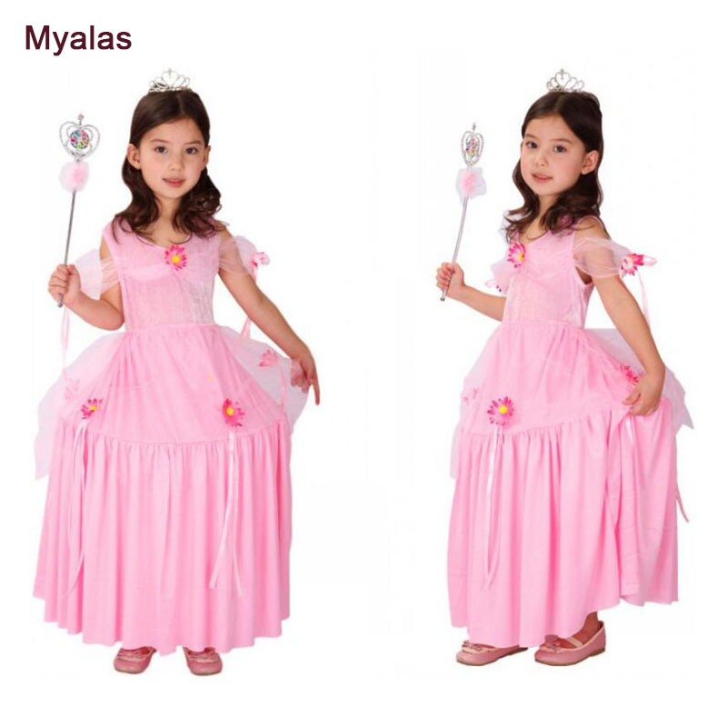 New Girls Movie Cosplay Costume Princess Dress Fancy Kindergarten Party Performances Dresses Girl Children's Dress Pink Color