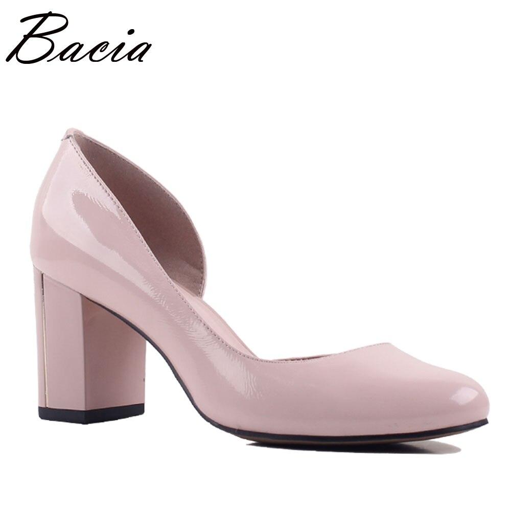 Bacia Пояса из натуральной кожи Двойка туфли на квадратном каблуке элегантный принцесса Насосы 7 см каблук Летняя одежда овчины Qaulity обувь SA058