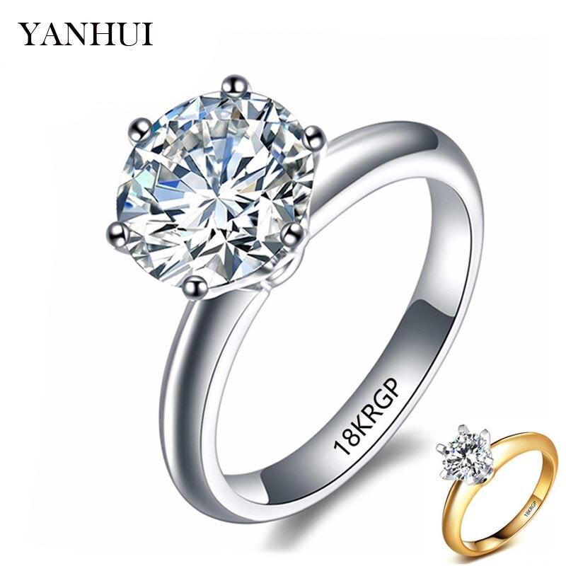 YANHUI 100% Pur D'origine Or Rempli Anneau De Mode Bijoux 2 Carat Blanc Solitaire Zircon Anneaux De Mariage pour les Femmes HR1689