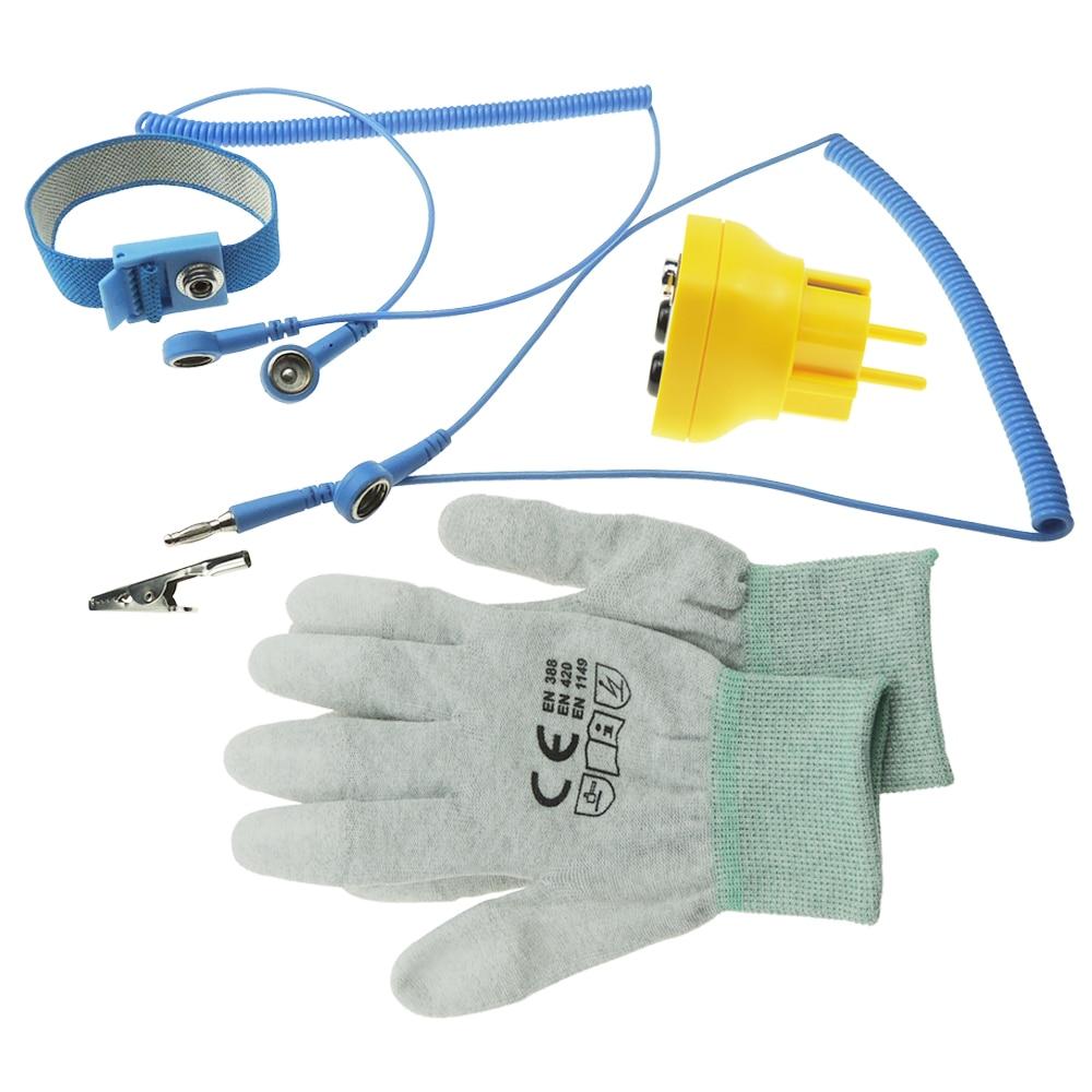 лучшая цена Earth Bonding Plug EU EBP Anti Static ESD with Antistatic Wrist Strap and ESD Top Fit Glove for DIY Earth Grounding Workstation