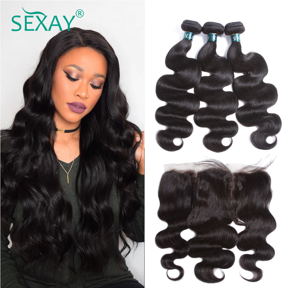 Lace Frontal With Bundles Brazilian Body Wave SEXAY Human Hair 3 Bundles With Closure Pre Plucked 13x4 Lace Frontal Closures