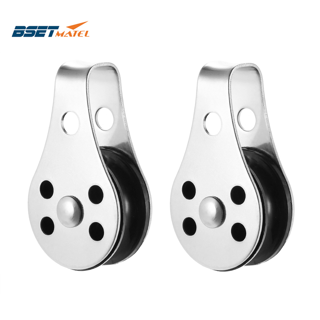 2PCS Stainless Steel 316 Pulley Blocks Rope Runner Kayak Boat Accessories Canoe Anchor Trolley Kit For 2mm To 8mm Rope