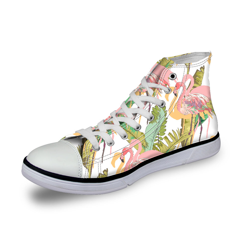 Custom Canvas Shoes Women Fashion Hand Paint Art Flamingo High Top White Female Flats Student Casual Shoes Platform Sneakers