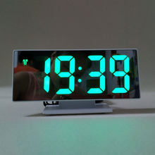Digital Alarm Clock LED Mirror Clock Multifunction Snooze Display Time Night Led Table Desktop Office Home Bedroom Decoration(China)