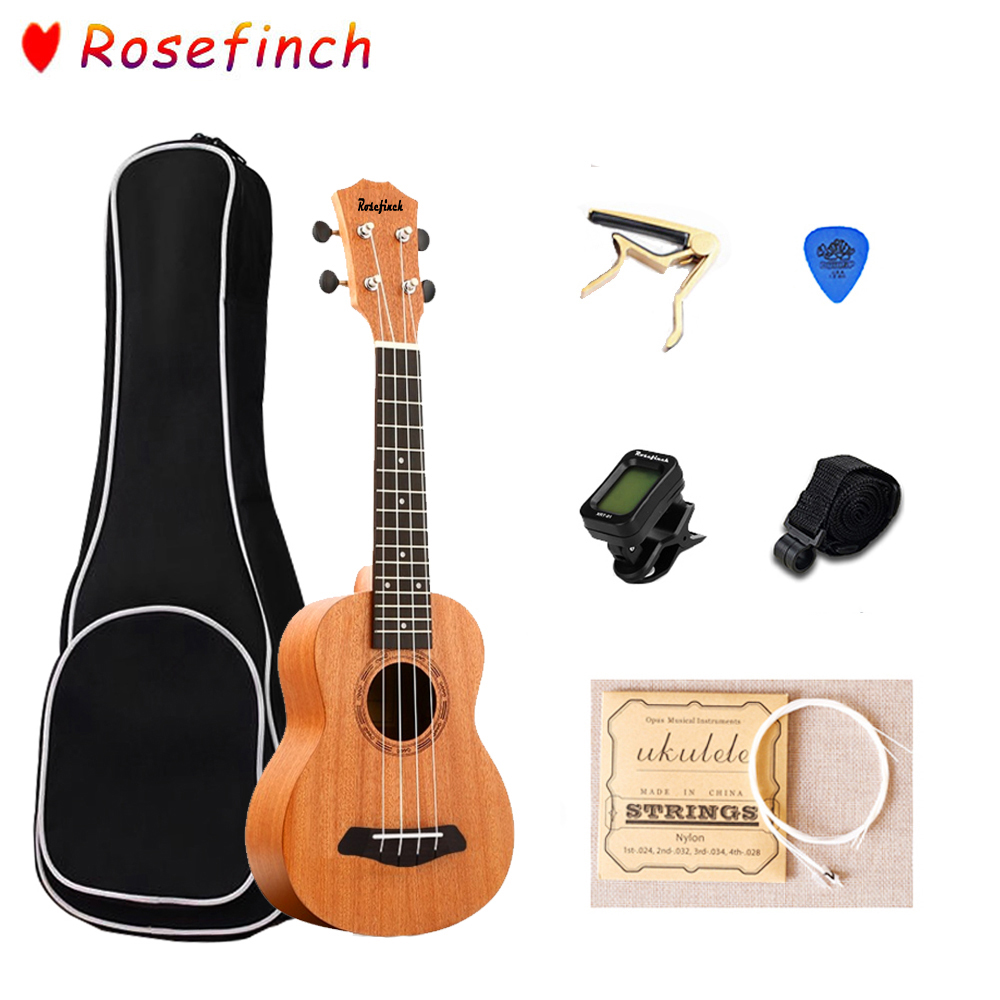 Rosefinch 21 Inch Ukulele For Beginners Hawaii Guitar Ukulele With Bag Picks Tuner Concert Uke For Kids Gift UK2116C