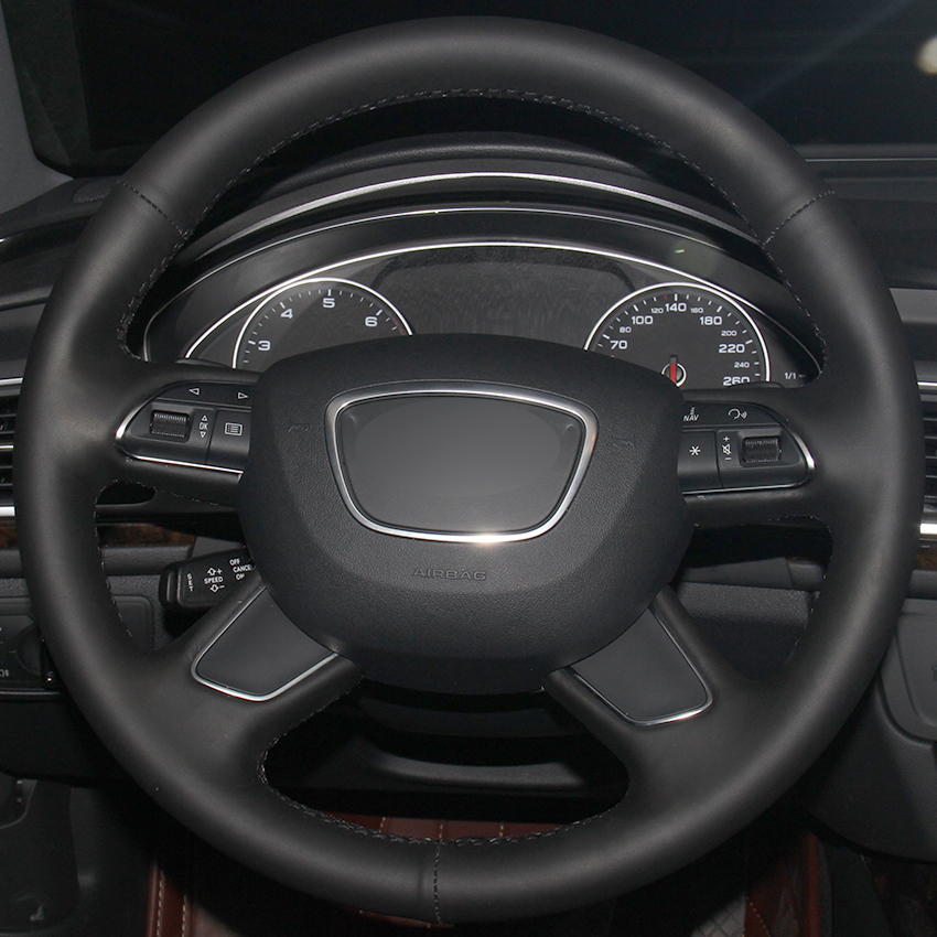 US $45 91 8% OFF|Black Natural Leather Car Steering Wheel Cover for Audi Q7  2012 2015 Q3 Q5 2013 2016 A4 (B8) 2014 2015 A6 (C7) 2014 2016-in Steering