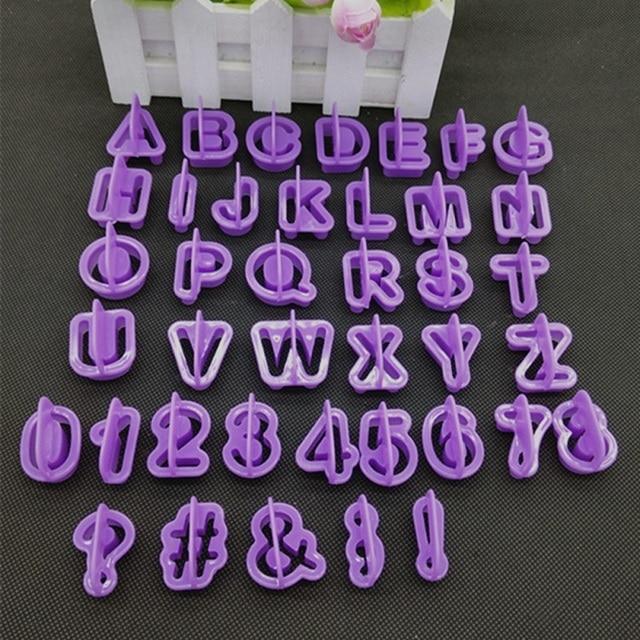 40 Pcs/set  Alphabet Number Letter Character Fondant Cake Decorating Set Cake for cake baking Decorating Mold Cupcake