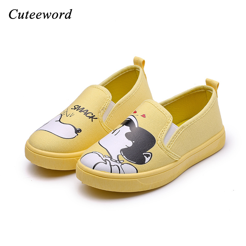 Girls childrens canvas shoes 2018 Spring autumn fashion boys sneakers elastic band leisure cartoon flats soft bottom shoes kids