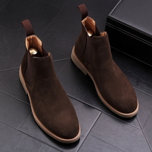Shoes Chelsea-Boots Trending High-Top Pointed-Toe Autumn Casual Fashion Spring Nubuck