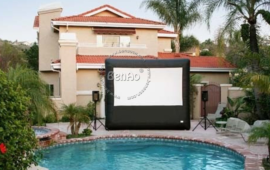 M004  Free shipping 6x3m giant inflatable movie screen inflatable projection movie screen with blower