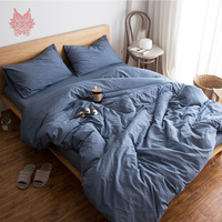 Europe Style Denim Blue Grey White Green Solid Bedding Sets 100 Cotton Breathable Comforter Cover Set