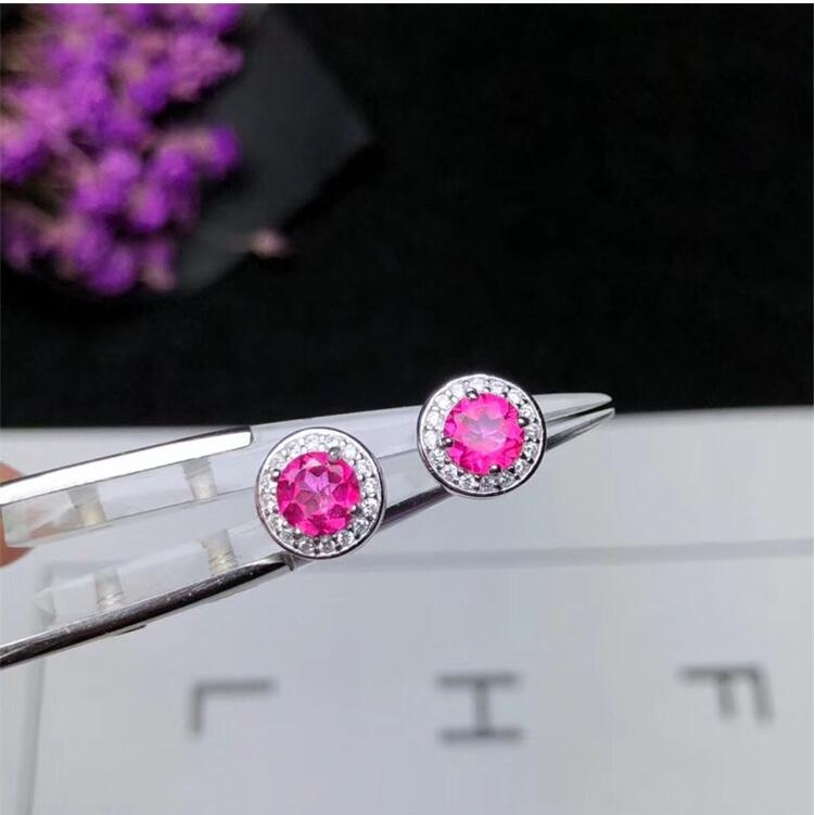 Natural pink topaz earring Free shipping Natural real pink topaz 925 sterling silver natural alphabet n pink