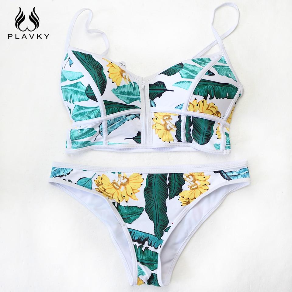2017 Sexy Floral Biquini Thong Zipper High Neck Swim Bathing Suit Plus Size Swimwear Women Brazilian Bikini Push Up Swimsuit 4