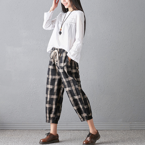 New 2018 Spring And Autumn Artistic Vintage Trousers Women Harlan Pants Woman Pants Loose Linen Pants For Women Plus Size Women 5