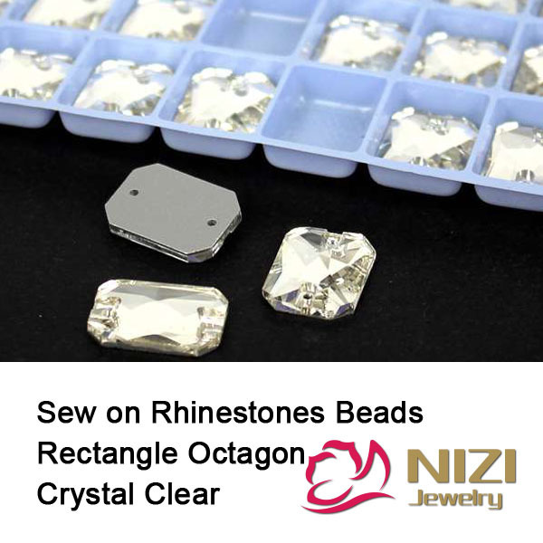 Contas Flatback 10x14mm 13x18mm Retângulo Octagon Crystal Clear Contas de Vidro Costurar Em DIY Contas para o Vestuário de Alta Brilhar Grânulos de Cristal
