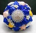Высшего качества ручной работы из бисера Брошь шелковый Цветок невесты Свадебный свадебный букет невесты Европа США 2 цветов Искусственный цветок