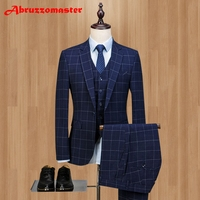 2018 Groom Tuxedos Damier Check Groomsman Suit Custom Made Man Suit Business affairs Suit Worsted Wool Suits(Jacket+pants+vest)