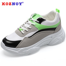 Koznoy Sneakers Women Spring Color Matching Dropshipping Leisure Thick Bottom Fashion Breathable Shallow Sewing Shoes