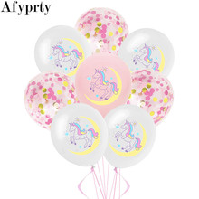 10pcs 12 inch Unicorn Latex Balloons White Pink Confetti Balloon Birthday Party Decorations Kids Favors Unicorn Party Supplies(China)